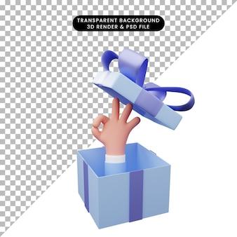Illustration 3d d'une boîte-cadeau ouverte avec un geste de la main ok