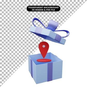 Illustration 3d de boîte-cadeau ouverte avec l'icône de localisation