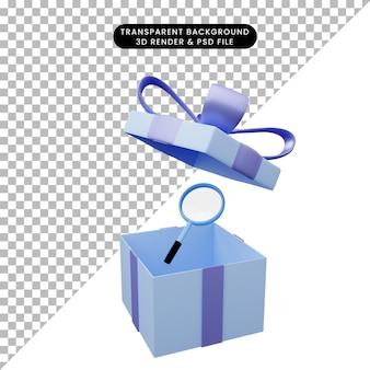 Illustration 3d de boîte-cadeau ouverte avec loupe