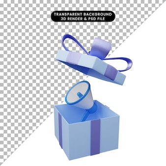 Illustration 3d de boîte-cadeau ouverte avec mégaphone