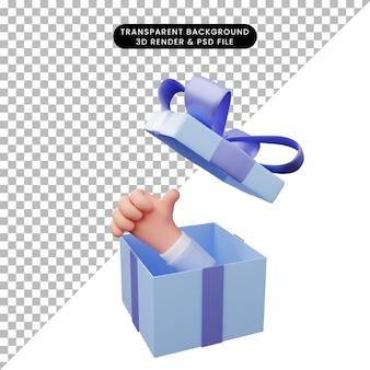 Illustration 3d d'une boîte-cadeau ouverte avec les pouces vers le haut