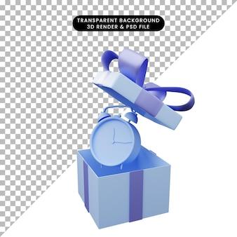Illustration 3d de boîte-cadeau ouverte avec réveil