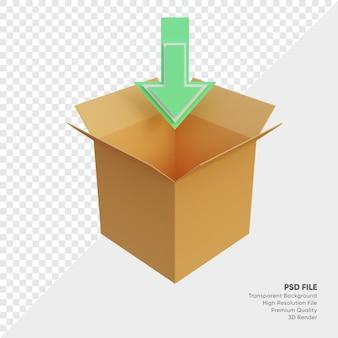 Illustration 3d de la boîte de téléchargement
