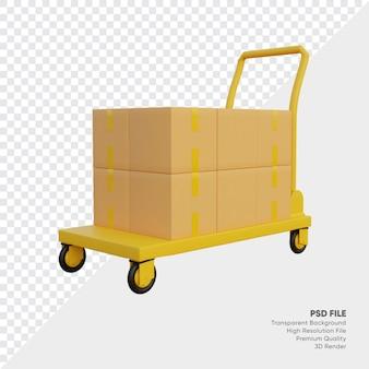 Illustration 3d de boîtes sur chariot