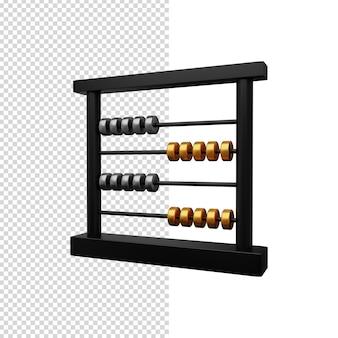 Illustration 3d de boulier noir avec des perles d'or et d'argent. illustration 3d de boulier.