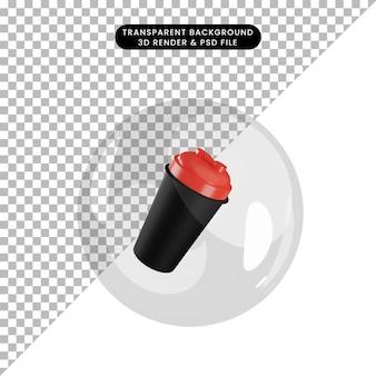 Illustration 3d de la bouteille de gym shaker d'objets à l'intérieur des bulles