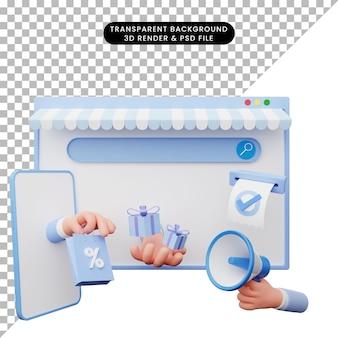 Illustration 3d de la boutique en ligne d'illustrations web