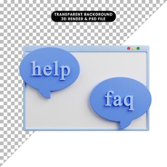 Illustration 3d de la bulle de discussion de la page de faq d'aide