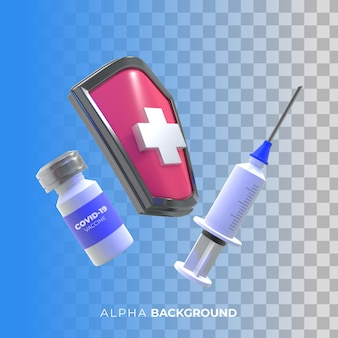 Illustration 3d. campagne de vaccination contre le coronavirus