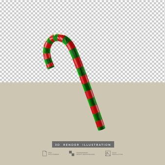 Illustration 3d de canne en bonbon rouge et verte de noël