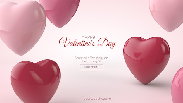 Illustration 3d. carte postale de la saint-valentin. coeurs roses et rouges et place pour votre texte.