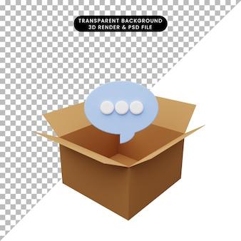 Illustration 3d de carton avec bulle de discussion