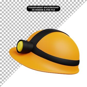 Illustration 3d d'un casque de sécurité d'objet simple avec lampe de poche