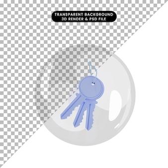 Illustration 3d de la clé de l'objet à l'intérieur des bulles