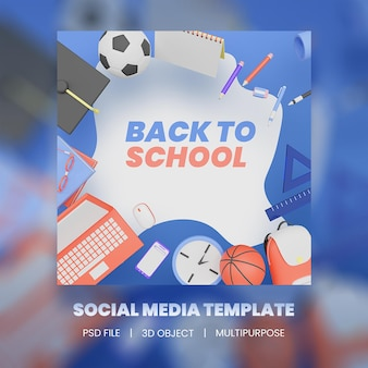 Illustration 3d de la collection de publications instagram de retour à l'école