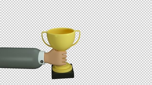 Illustration 3d de la coupe du gagnant dans la main de style dessin animé isolé