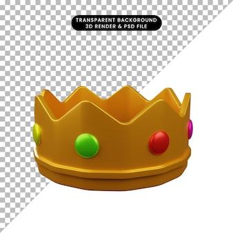 Illustration 3d de la couronne d'objet simple