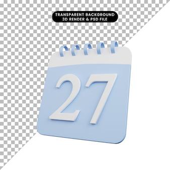 Illustration 3d de la date du numéro de calendrier de l'objet simple 27