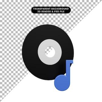 Illustration 3d d'un disque d'objet simple avec icône de musique