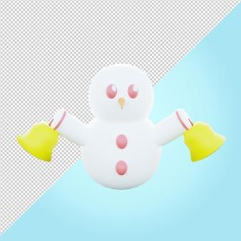 Illustration 3d du bonhomme de neige tenant la cloche de l'église