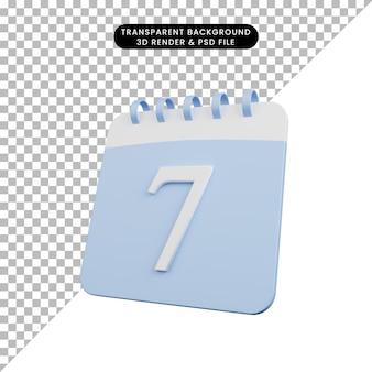 Illustration 3d du calendrier de l'objet simple numéro 7