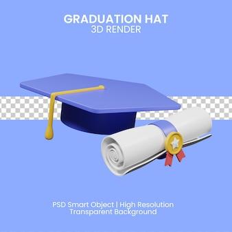 Illustration 3d du chapeau de graduation et des confettis sur fond bleu