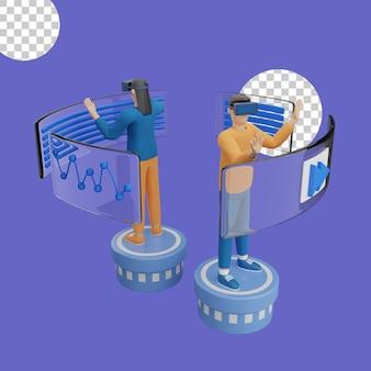 Illustration 3d du concept de casque de réalité virtuelle