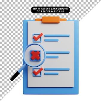 Illustration 3d du concept de liste de contrôle à bord avec du papier et une loupe
