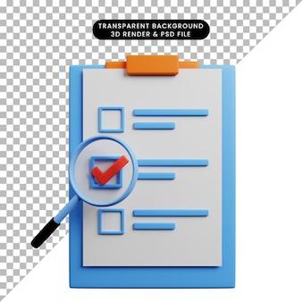 Illustration 3d du concept de liste de contrôle à bord avec du papier