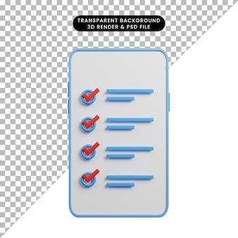 Illustration 3d du concept de liste de contrôle sur smartphone