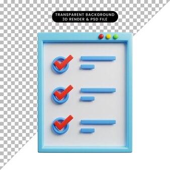 Illustration 3d du concept de liste de contrôle ui web