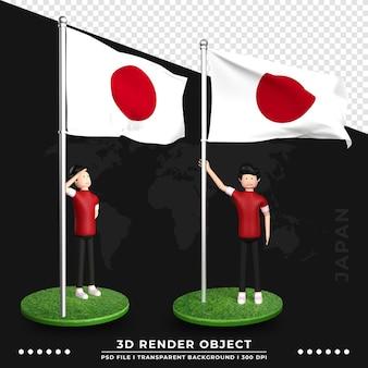 Illustration 3d du drapeau du japon avec un personnage de dessin animé de personnes mignonnes. rendu 3d.