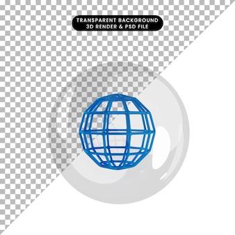 Illustration 3d du globe de l'objet à l'intérieur des bulles