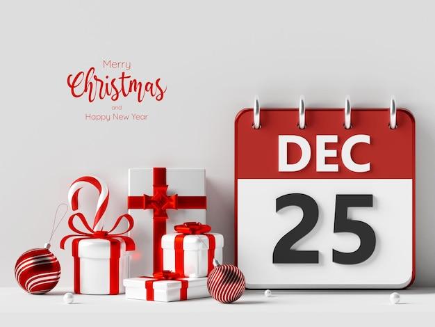 Illustration 3d du jour de noël du 25 décembre sur le calendrier avec boîte-cadeau