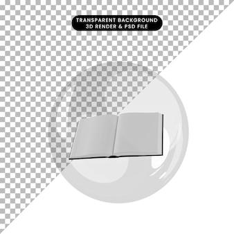 Illustration 3d du livre d'objets ouvert à l'intérieur des bulles