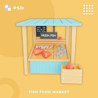 Illustration 3d du marché des aliments pour poissons marché traditionnel poisson frais