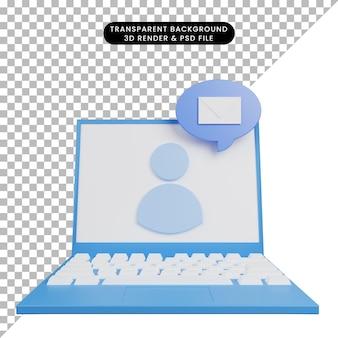 Illustration 3d du message électronique de faq d'aide sur un ordinateur portable