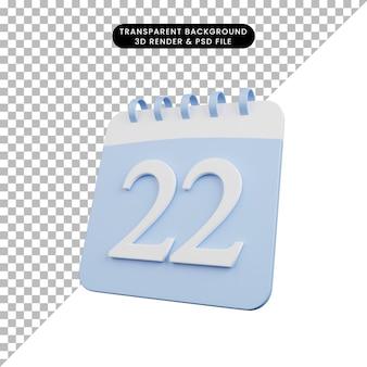 Illustration 3d du numéro de calendrier de l'objet simple date 22