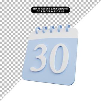 Illustration 3d du numéro de calendrier de l'objet simple date 30