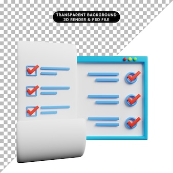 Illustration 3d du papier de concept de liste de contrôle avec la conception de sites web