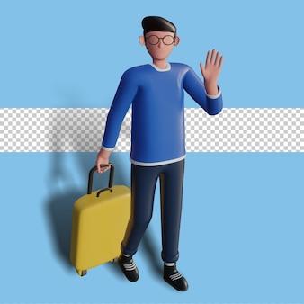 Illustration 3d du personnage partant en vacances en agitant