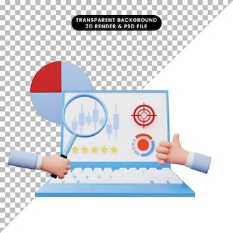 Illustration 3d du rapport d'analyse de données sur ordinateur portable