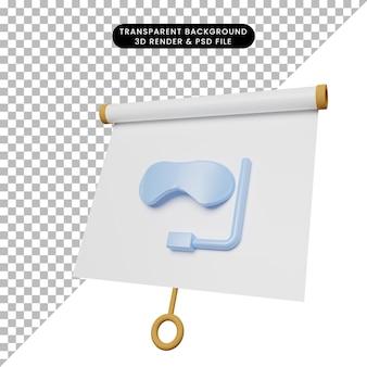 Illustration 3d du tableau de présentation d'objets simples vue légèrement inclinée avec des lunettes de natation