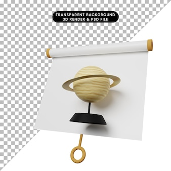 Illustration 3d du tableau de présentation d'objets simples vue légèrement inclinée avec saturne