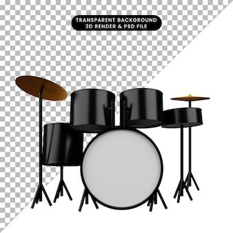 Illustration 3d du tambour d'instrument de musique d'objet simple