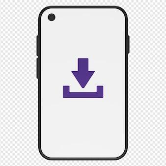 Illustration 3d du téléchargement dans l'icône du smartphone psd