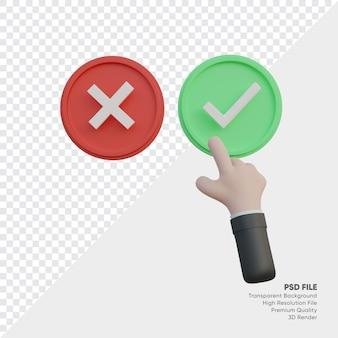 Illustration 3d du toucher de la main accepter la liste de contrôle ou la croix