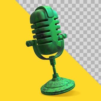 Illustration 3d du tracé de détourage du microphone couleur militaire