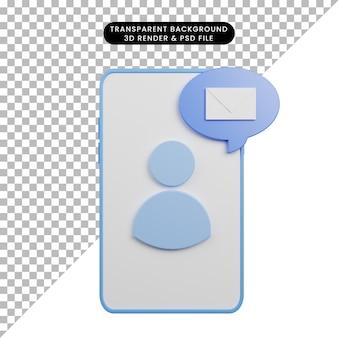 Illustration 3d de l'e-mail de faq d'aide sur smartphone
