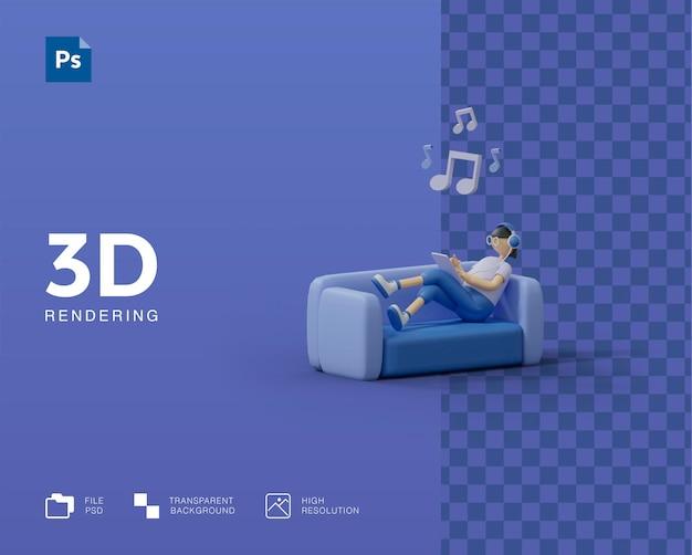 Illustration 3d écoutant de la musique
